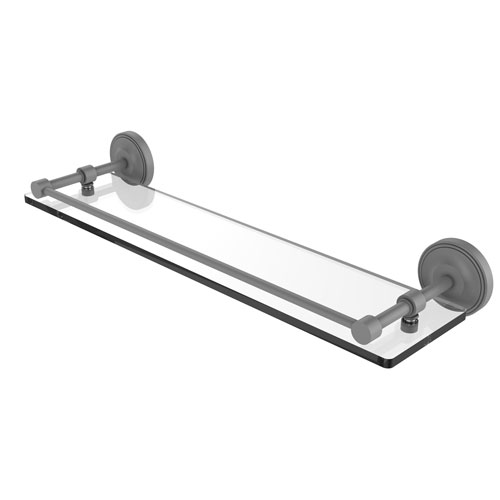 Prestige Regal Matte Gray 22-Inch Tempered Glass Shelf with Gallery Rail