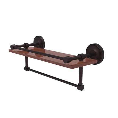 Prestige Regal Antique Bronze 16-Inch IPE Ironwood Shelf with Gallery Rail and Towel Bar