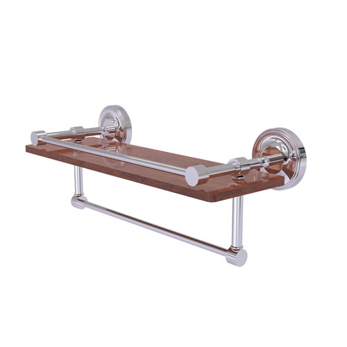 Prestige Regal Polished Chrome 16-Inch IPE Ironwood Shelf with Gallery Rail and Towel Bar