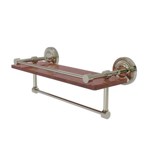 Prestige Regal Polished Nickel 16-Inch IPE Ironwood Shelf with Gallery Rail and Towel Bar
