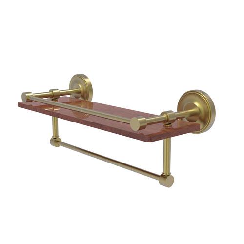 Prestige Regal Satin Brass 16-Inch IPE Ironwood Shelf with Gallery Rail and Towel Bar