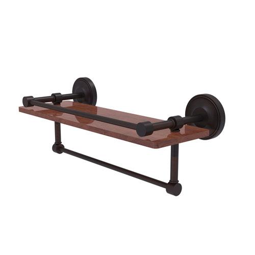 Prestige Regal Venetian Bronze 16-Inch IPE Ironwood Shelf with Gallery Rail and Towel Bar