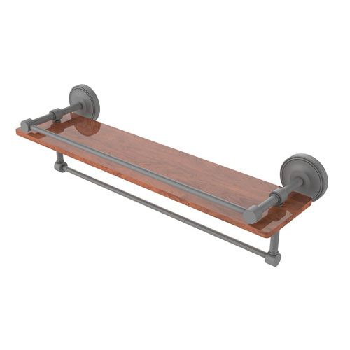 Prestige Regal Matte Gray 22-Inch IPE Ironwood Shelf with Gallery Rail and Towel Bar