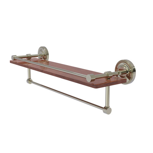 Prestige Regal Polished Nickel 22-Inch IPE Ironwood Shelf with Gallery Rail and Towel Bar