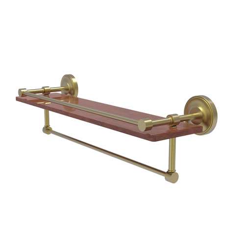 Prestige Regal Satin Brass 22-Inch IPE Ironwood Shelf with Gallery Rail and Towel Bar