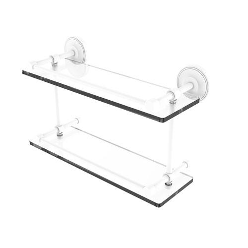 Prestige Regal Matte White 16-Inch Double Glass Shelf with Gallery Rail