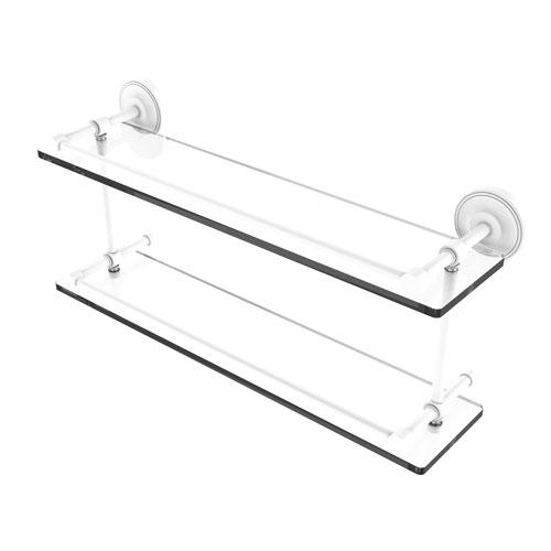 Prestige Regal Matte White 22-Inch Double Glass Shelf with Gallery Rail