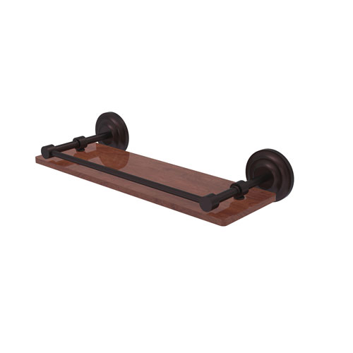 Que New Antique Bronze 16-Inch Solid IPE Ironwood Shelf with Gallery Rail