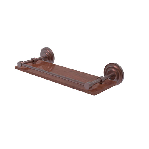 Que New Antique Copper 16-Inch Solid IPE Ironwood Shelf with Gallery Rail