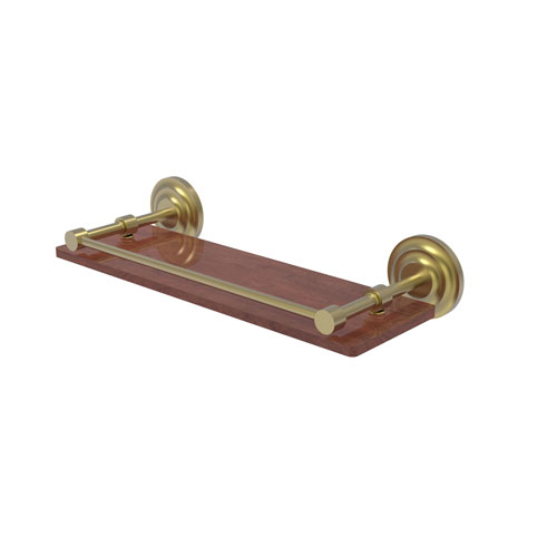 Que New Satin Brass 16-Inch Solid IPE Ironwood Shelf with Gallery Rail