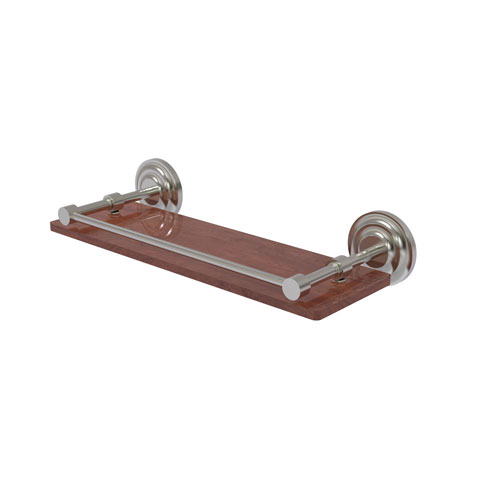 Que New Satin Nickel 16-Inch Solid IPE Ironwood Shelf with Gallery Rail