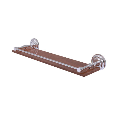 Que New Satin Chrome 22-Inch Solid IPE Ironwood Shelf with Gallery Rail
