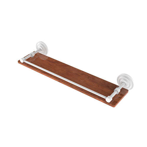 Que New Matte White 22-Inch Solid IPE Ironwood Shelf with Gallery Rail
