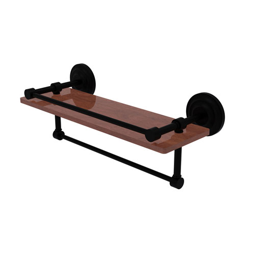 Que New Matte Black 16-Inch IPE Ironwood Shelf with Gallery Rail and Towel Bar