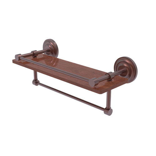 Que New Antique Copper 16-Inch IPE Ironwood Shelf with Gallery Rail and Towel Bar