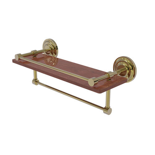 Que New Unlacquered Brass 16-Inch IPE Ironwood Shelf with Gallery Rail and Towel Bar