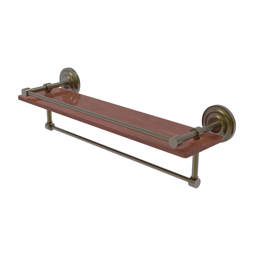 Que New Antique Brass 22-Inch IPE Ironwood Shelf with Gallery Rail and Towel Bar