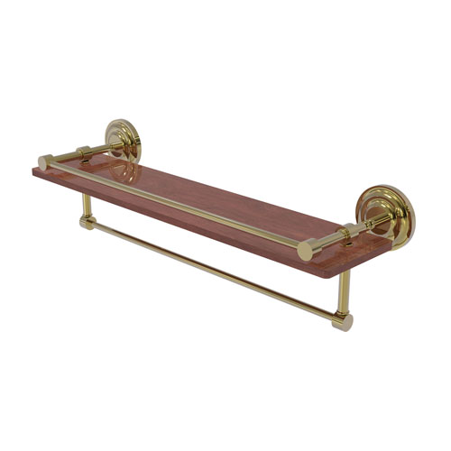 Que New Unlacquered Brass 22-Inch IPE Ironwood Shelf with Gallery Rail and Towel Bar