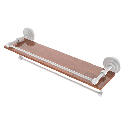 Que New Matte White 22-Inch IPE Ironwood Shelf with Gallery Rail and Towel Bar