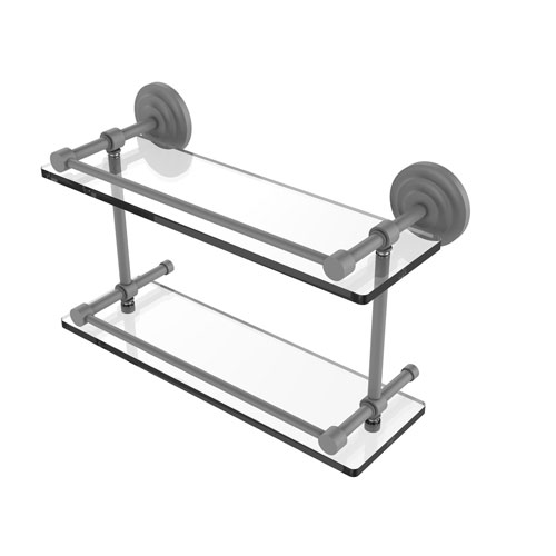 Que New Matte Gray 16-Inch Double Glass Shelf with Gallery Rail
