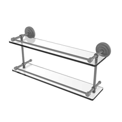 Que New Matte Gray 22-Inch Double Glass Shelf with Gallery Rail