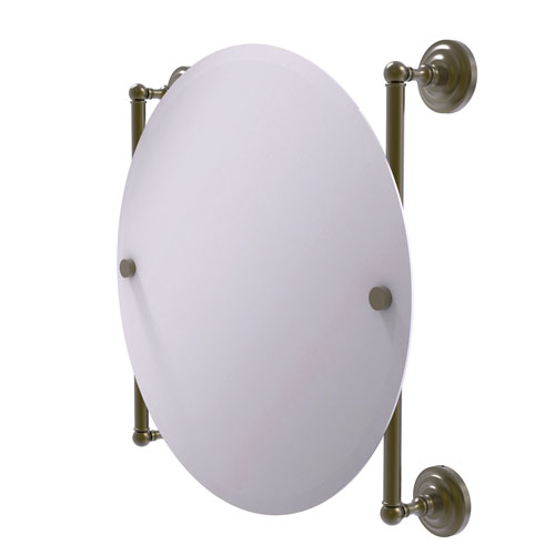 Que New Antique Brass 22-Inch Round Frameless Rail Mounted Mirror