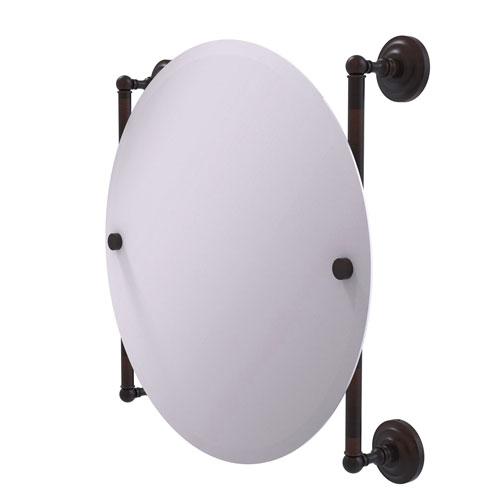 Que New Venetian Bronze 22-Inch Round Frameless Rail Mounted Mirror