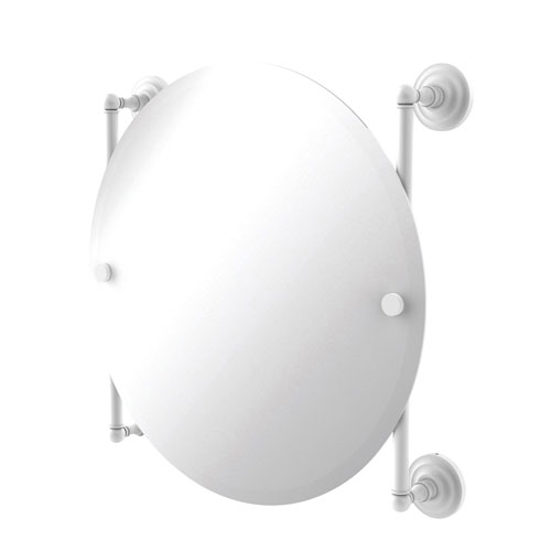Que New Matte White 22-Inch Round Frameless Rail Mounted Mirror