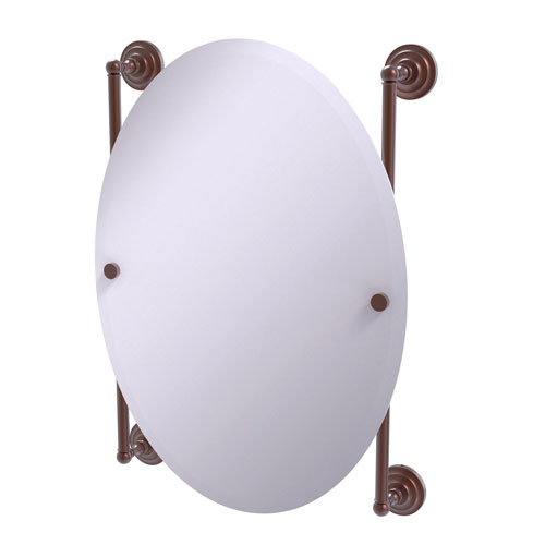 Que New Antique Copper 21-Inch Oval Frameless Rail Mounted Mirror