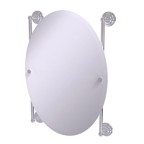 Que New Polished Chrome 21-Inch Oval Frameless Rail Mounted Mirror