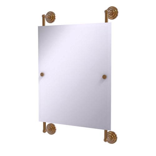 Que New Brushed Bronze 21-Inch Rectangular Frameless Rail Mounted Mirror