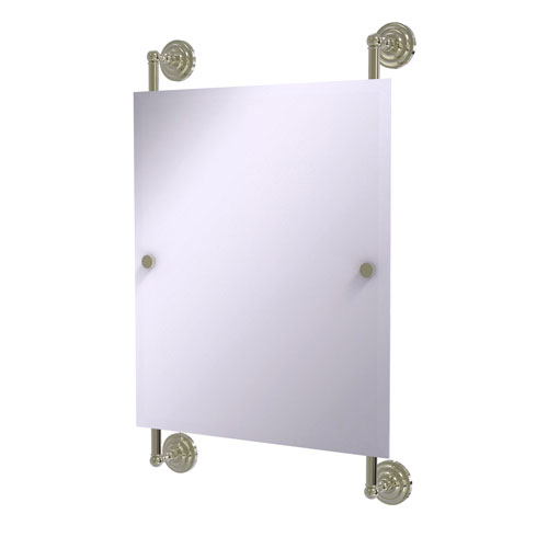 Que New Polished Nickel 21-Inch Rectangular Frameless Rail Mounted Mirror