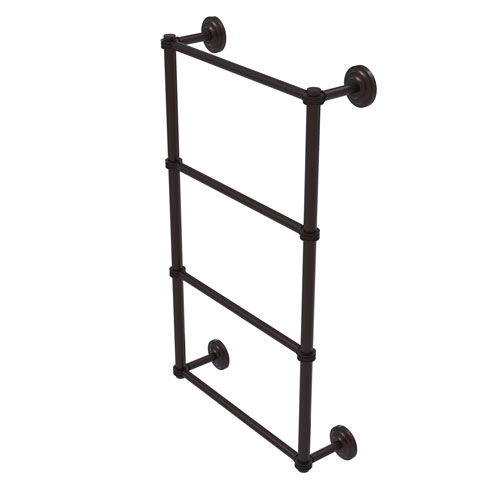 Que New Antique Bronze 24-Inch Four Tier Ladder Towel Bar with Dotted Detail