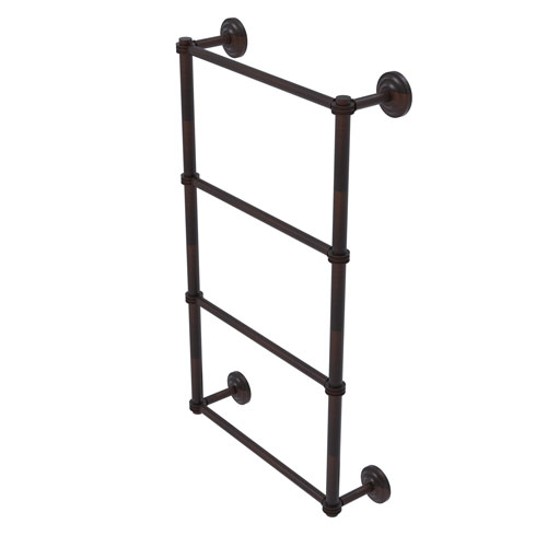 Que New Venetian Bronze 24-Inch Four Tier Ladder Towel Bar with Dotted Detail