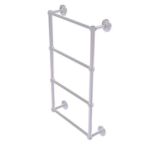 Que New Satin Chrome 30-Inch Four Tier Ladder Towel Bar with Dotted Detail