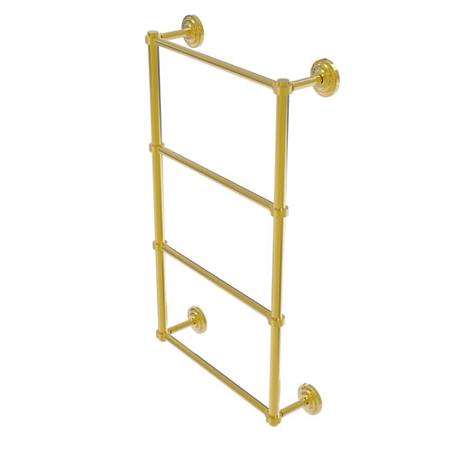 Que New Polished Brass 30-Inch Four Tier Ladder Towel Bar with Groovy Detail