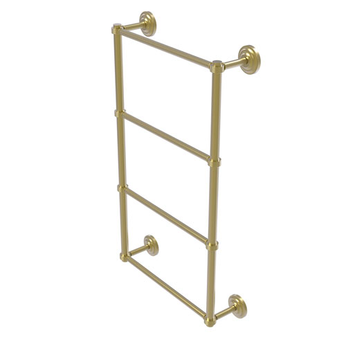 Que New Satin Brass 30-Inch Four Tier Ladder Towel Bar with Groovy Detail