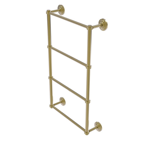 Que New Unlacquered Brass 30-Inch Four Tier Ladder Towel Bar with Groovy Detail