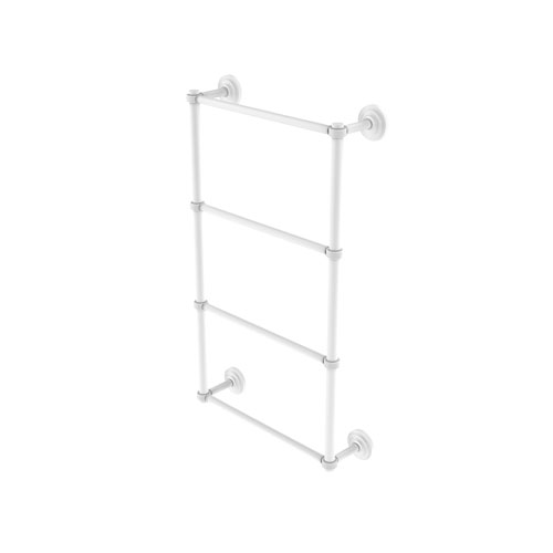 Que New Matte White 36-Inch Four Tier Ladder Towel Bar with Groovy Detail