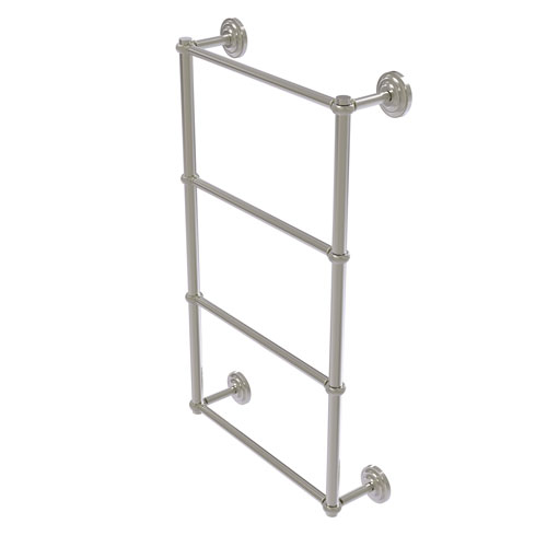 Que New Satin Nickel 24-Inch Four-Tier Ladder Towel Bar with Twisted Detail