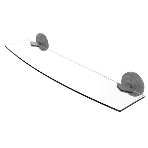Que New Matte Gray 24-Inch Glass Shelf