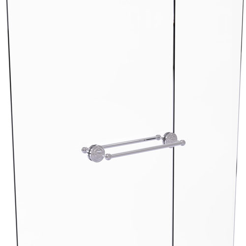 Que New Polished Chrome 18-Inch Back to Back Shower Door Towel Bar