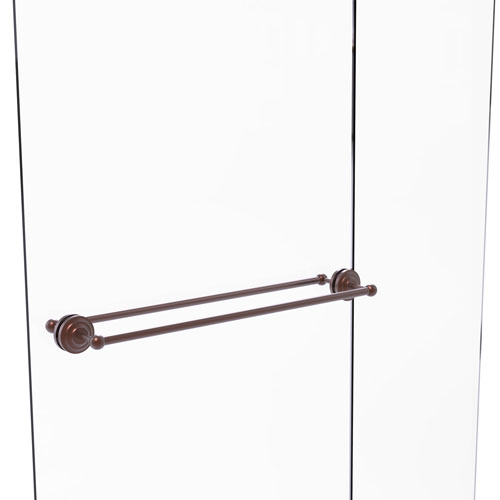 Que New Antique Copper 30-Inch Back to Back Shower Door Towel Bar