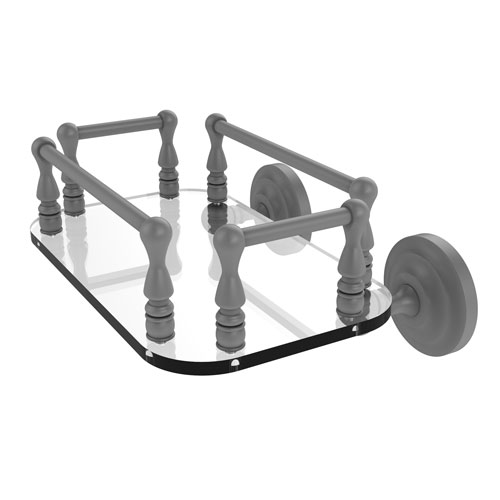 Que New Matte Gray Eight-Inch Wall Mounted Glass Guest Towel Tray