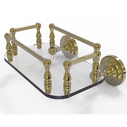 Que New Unlacquered Brass Eight-Inch Wall Mounted Glass Guest Towel Tray