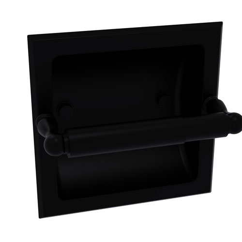Regal Matte Black Six-Inch Recessed Toilet Tissue Holder