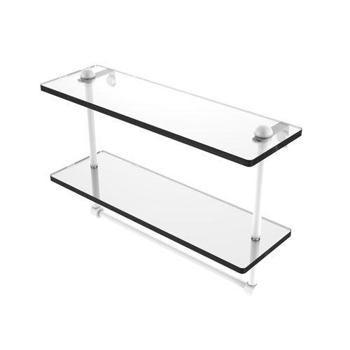 Matte White 16-Inch Two Tiered Glass Shelf with Integrated Towel Bar