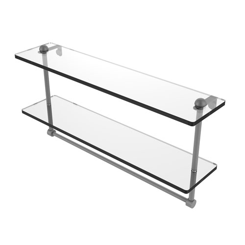 Matte Gray 22-Inch Two Tiered Glass Shelf with Integrated Towel Bar