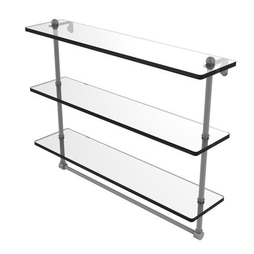 Matte Gray 22-Inch Triple Tiered Glass Shelf with Integrated Towel Bar