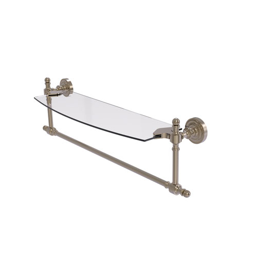 Retro Dot Antique Pewter 18-Inch Glass Vanity Shelf with Integrated Towel Bar
